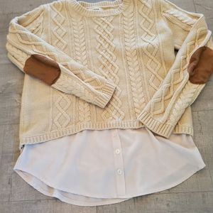 Creme sweater brown elbow pads